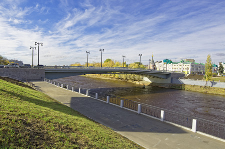 Russia,Omsk.Reconstructed bridge in the historical center of the city Editorial