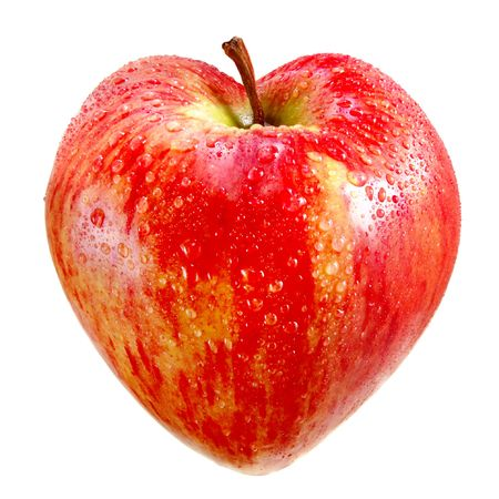 red apple in a heart on a white background  photo