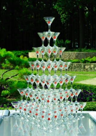 Holiday glasses on the background of the park on Service Pyramid  photo