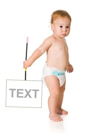 tabellare: bambino con un testo segno su sfondo bianco Archivio Fotografico