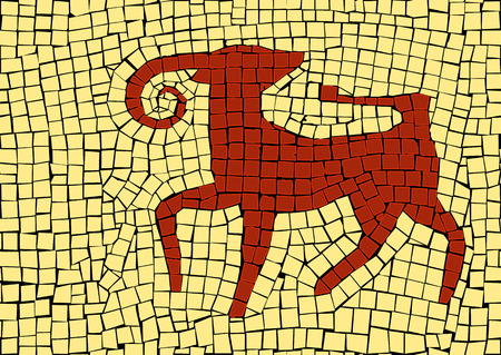 Aries zodiac sign in a mosaic style Stock Illustratie