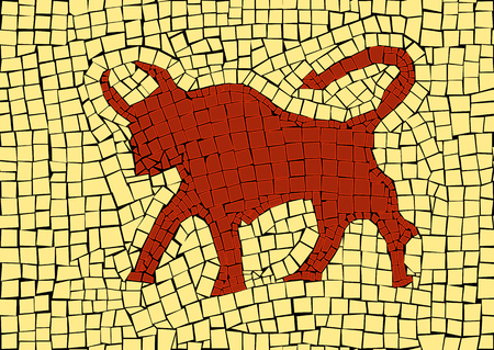 Taurus zodiac sign in a mosaic style Stock Illustratie