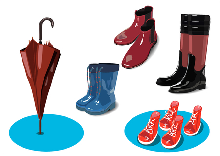 Rubber shoes for women, children and dogs Stock Illustratie