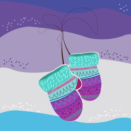 Two mittens for gifts hanging on a rope on a colored background
