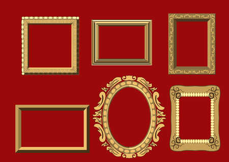 Set of gold carved frames for paintings Stock Illustratie