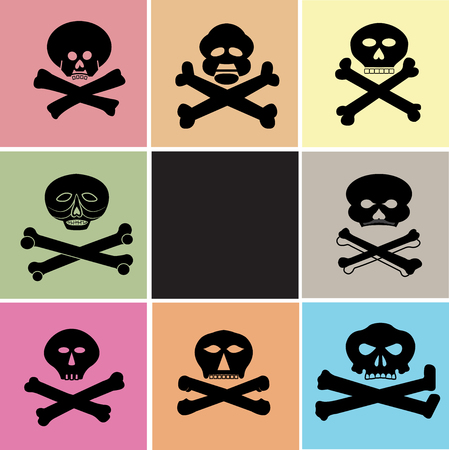 Several types of skull and crossbones