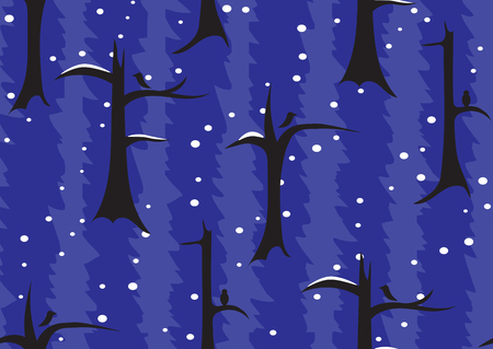 Seamless pattern. Night winter forest. Trees under the snow and crows