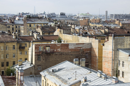Panoramic view of the roofs of buildings in the center of St. Petersburg in the summer