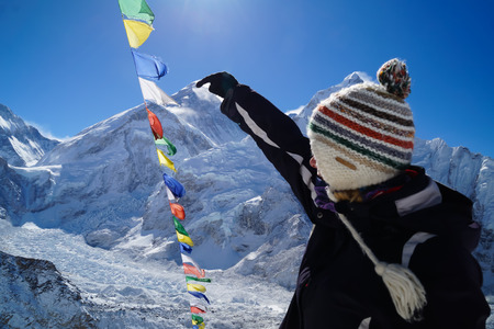 Mount Everest View from Kala Patthar with tourist