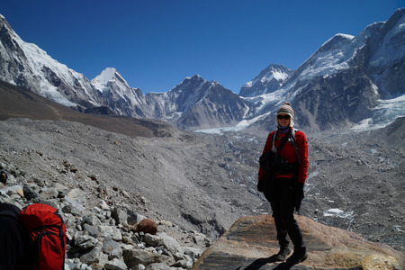 Khumbu Glacier on Everest Base Camp Trek Stock Photo