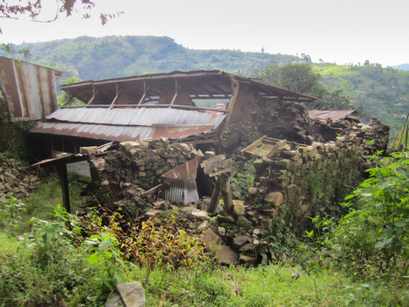 Destroyed house after earthquake
