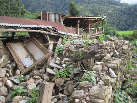 Damage after earthquake in Nepal