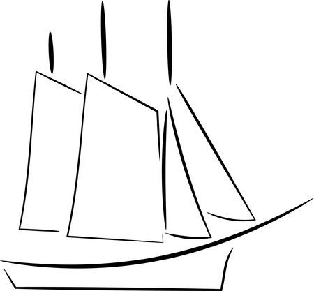 Yacht design no color Stock Illustratie