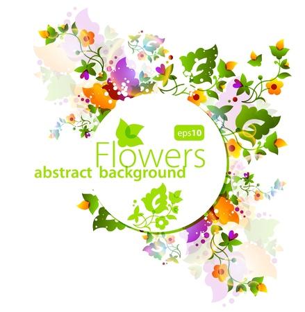 Floral fondo abstracto con luces de neón