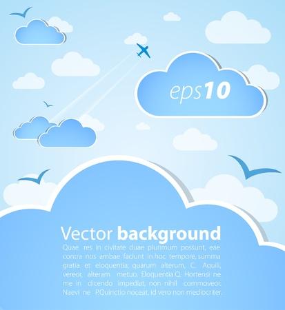clouds cartoon: Fondo de buen tiempo. Cielo azul con nubes Vectores