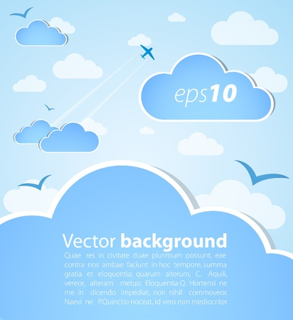 Good weather background. Blue sky with clouds Vector