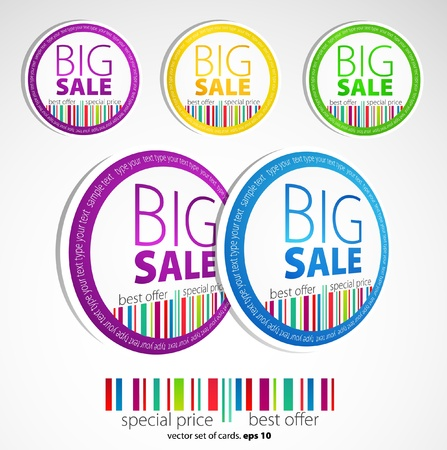 promotional offer: Color sale stickers Illustration