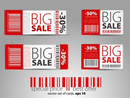 promotional offer: Set of red vector sale tickets