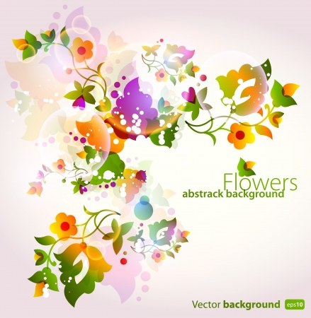 pamphlet: Floral abstract background with neon lights