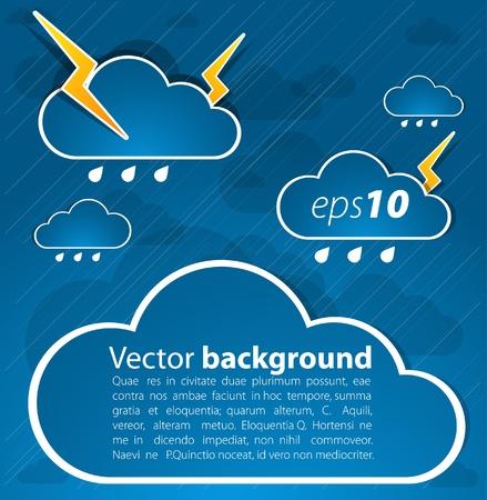 storm clouds: Bad weather background. sky with clouds and lightnings Illustration