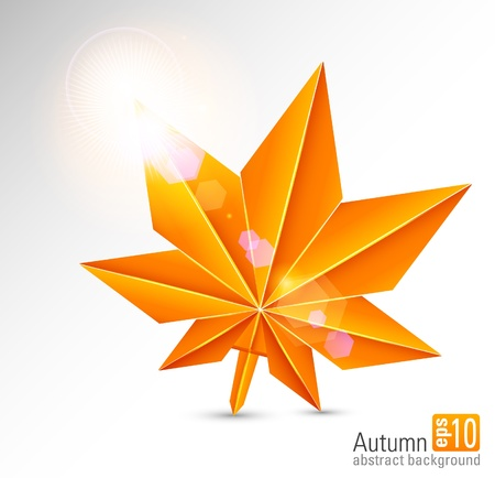 Autumn abstract background with a maple leaf Vector