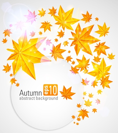 Autumn abstract background with a maple sheets Vector