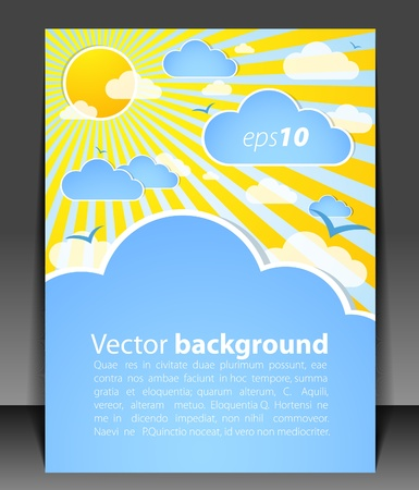 Blank with clouds and sun Vector