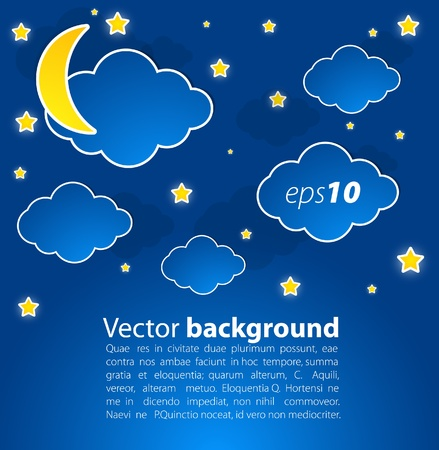 star sky with clouds and moon. Vector