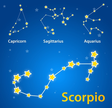 sagitario: Constelaciones de los signos del zodíaco. Scorpio, Capricornio, Sagitario, Acuario Vectores