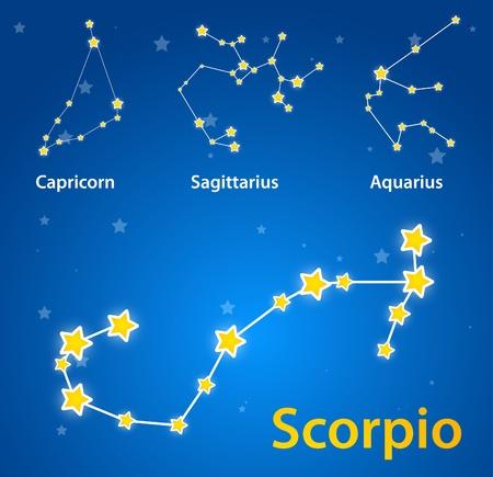 scorpion: Constellations of signs of zodiac. Scorpio, capricorn, sagittarius, aquarius