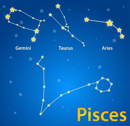 황소 자리: 조디악의 흔적의 별자리. 물고기 자리, 쌍둥이 자리, 황소 자리, 양자리