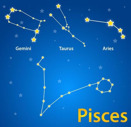 Constellations of signs of zodiac. Pisces, gemini, taurus, aries Vector