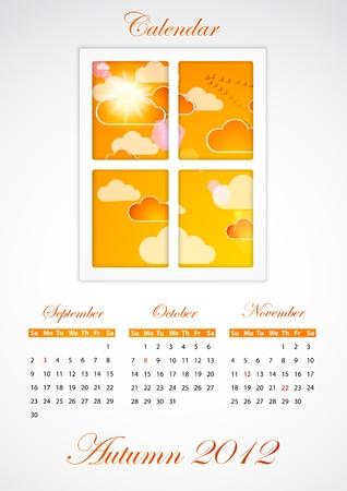 Calendar. Autumn 2012 Vector