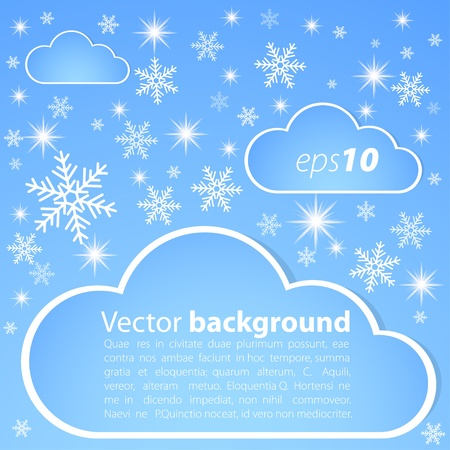 snowdrift: Winter background with snow, stars and clouds Illustration