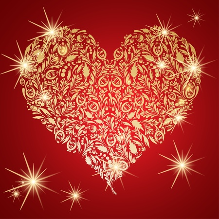 golden heart: Abstract golden floral heart with glowing lights Illustration