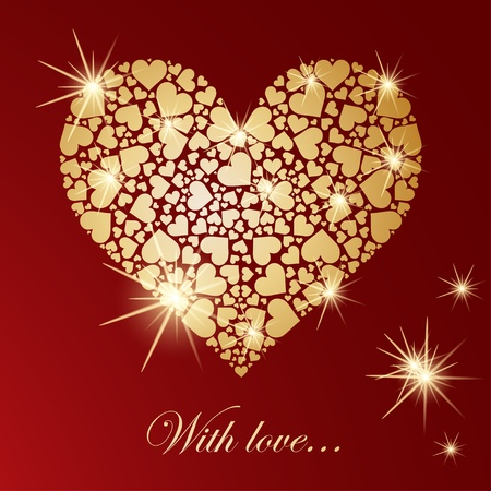 Abstract golden heart with glowing lights Vector