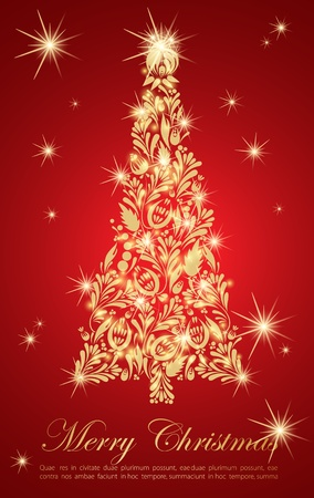 Golden christmas tree Vector