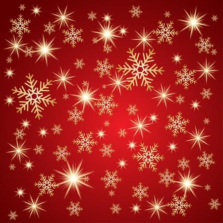 snowdrifts: Caduta di neve con stelle dorate. Inverno sfondo.