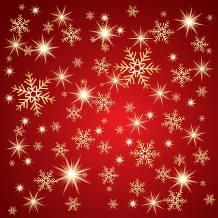 flakes: Snow fall with golden stars. Winter background.