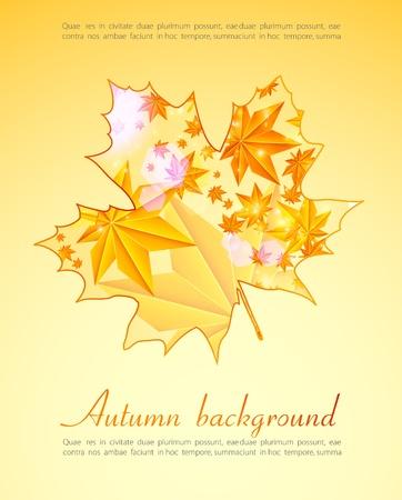 Autumn orange leaves. Seasonal background Vector