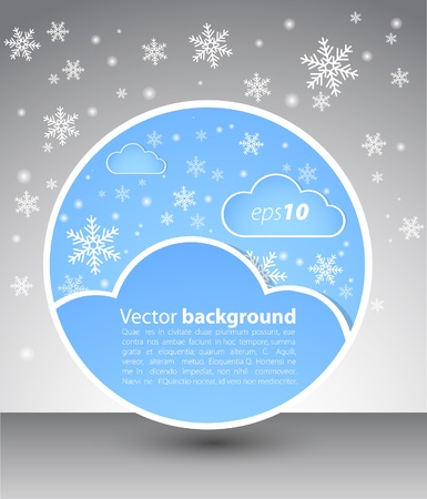 snowdrift: Winter round blank with clouds and snow