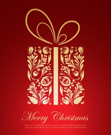 Abstract golden Christmas gift Vector