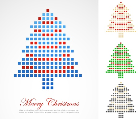 Christmas background with pixel Christmas tree. Vector