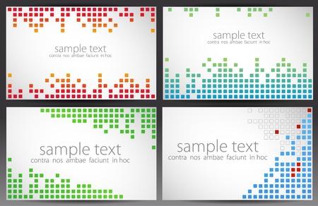 Conjunto de tarjetas. Pixel art. Ilustración de vector