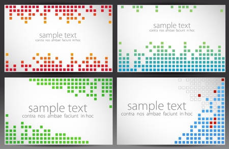 halftone dots: Set of cards. Pixel art.