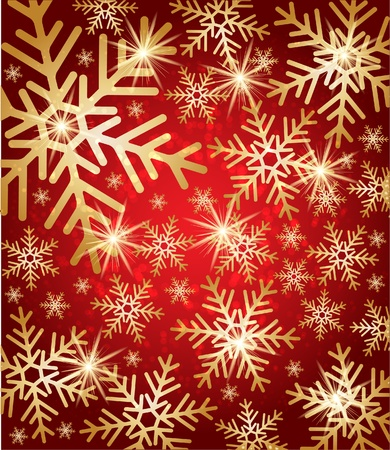 Snow fall with golden stars. Winter background. Vector