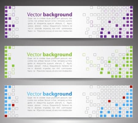 Horizontal web banners. Pixel art.