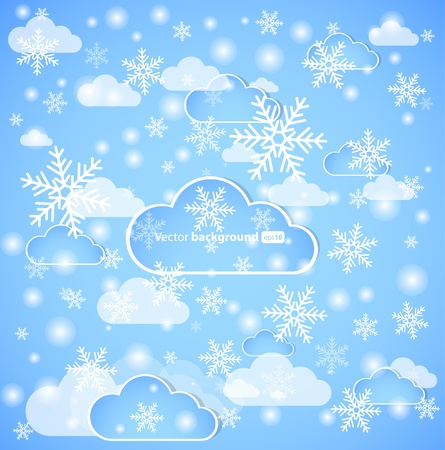 Winter background with clouds and snow.  Vector
