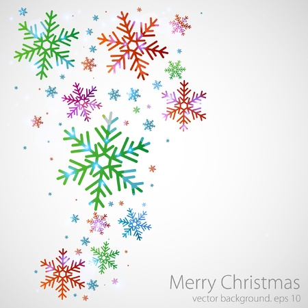 abstract christmas background with the coloured snowflakes Stock Vector - 11057169