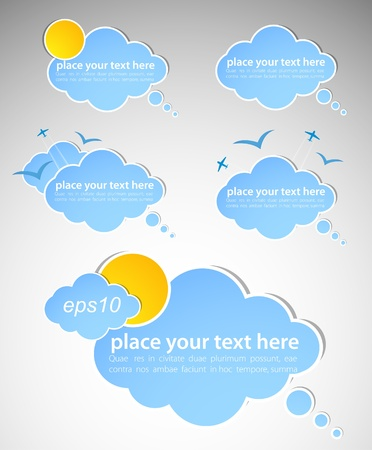tweet: Different colored speech bubbles in weather clouds style. Good weather